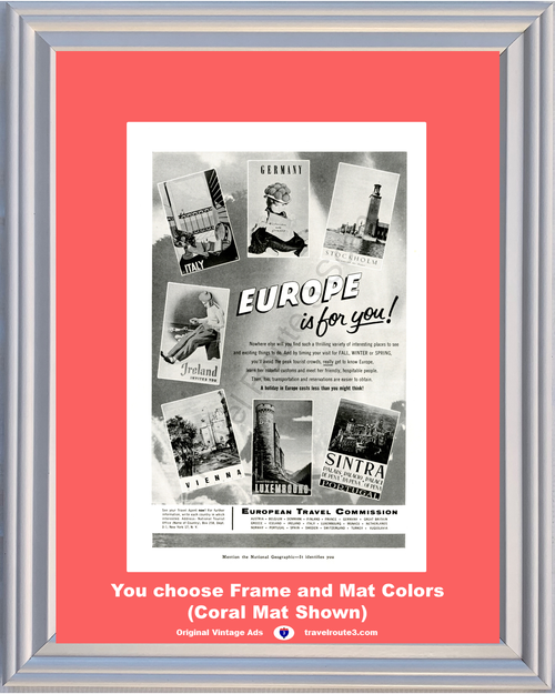 1957 Europe Travel Vacation Vintage Ad Italy Germany Sweden Ireland Austria Luxembourg Portugal 57 **You Choose Frame-Mat Colors-Free USA Priority Shipping**