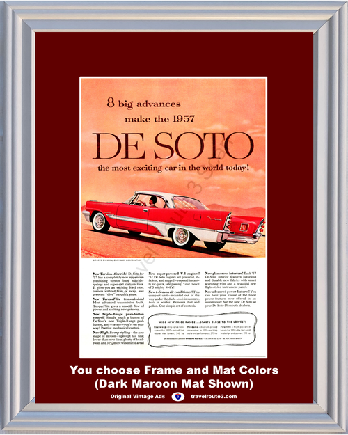 1957 De Soto Fireflite Vintage Ad 2 Door Hardtop Red Chrysler 57 **You Choose Frame-Mat Colors-Free USA Priority Shipping**