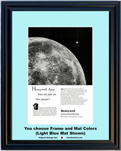 1957 Honeywell Moon Gyroscope Vintage Ad Aeronautical Vanguard Rocket Gyro Eye on the 57 **You Choose Frame-Mat Colors-Free USA Priority Shipping**