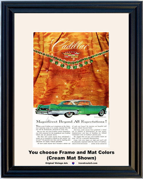 1957 Cadillac Jewels Vintage Ad Fleetwood Harry Winston Magnificent 57 **You Choose Frame-Mat Colors-Free USA Priority Shipping**