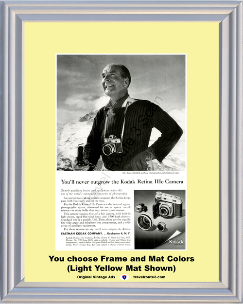 1957 Kodak Camera James Riddell Vintage Ad Ski Skier Retinal IIIc 3c Eastman 57 **You Choose Frame-Mat Colors-Free USA Priority Shipping**