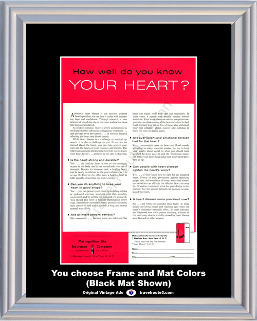 1957 Metropolitan Life Heart Health Vintage Ad Strong Wellness Disease Attack 57 **You Choose Frame-Mat Colors-Free USA Priority Shipping**