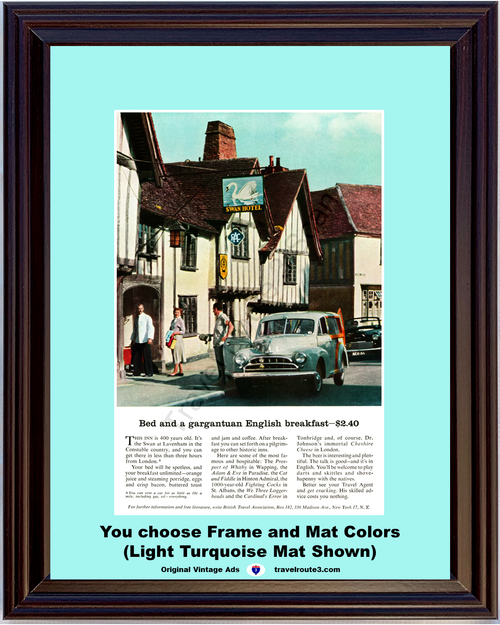 1957 English Swan Hotel Travel Vintage Ad Inn Vacation at Lavenham Constable Country 57 **You Choose Frame-Mat Colors-Free USA Priority Shipping**