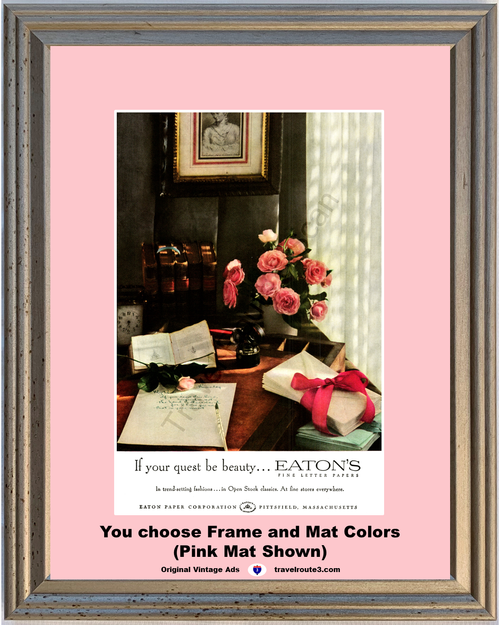 1957 Eaton's Paper Vintage Ad Paper Cards Envelopes Stationery Pink Roses 57 **You Choose Frame-Mat Colors-Free USA Priority Shipping**