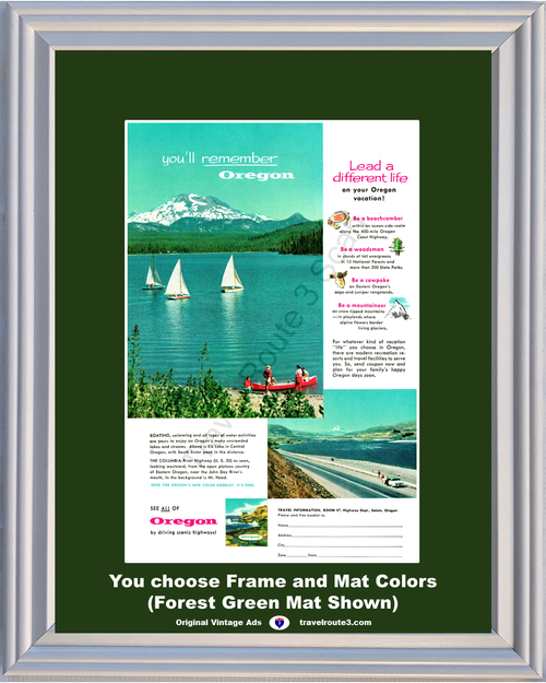 1957 Oregon Vacation Vintage Ad Elk Lake Boating Sail Boat South Sister Peak Scenic Columbia River Highway 57 **You Choose Frame-Mat Colors-Free USA Priority Shipping**