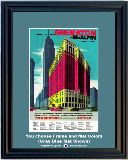 1957 New York Sheraton McAlpin Vintage Ad Hotel Travel Vacation Rooms of Tomorrow 57 **You Choose Frame-Mat Colors-Free USA Priority Shipping**