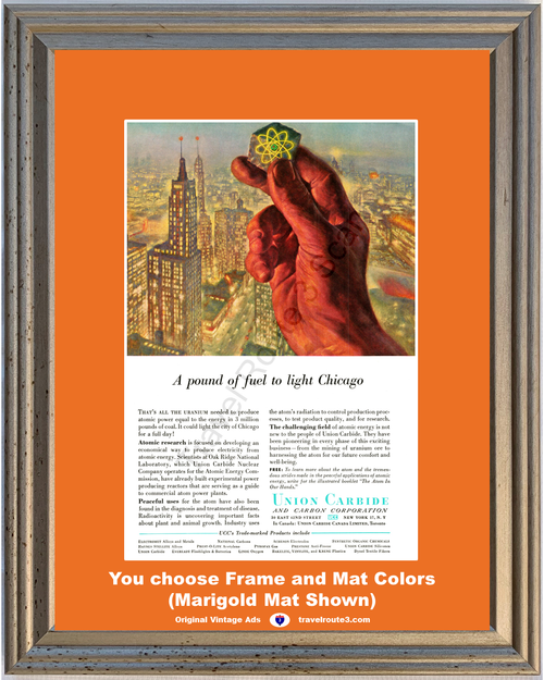 1957 Union Carbide Uranium Chicago Vintage Ad Atomic Energy Electricity Hand 57 **You Choose Frame-Mat Colors-Free USA Priority Shipping**