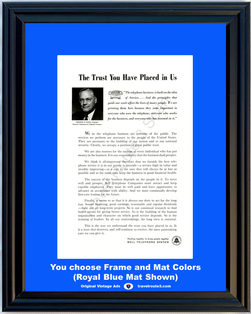 1957 Bell Telephone Service Vintage Ad Public Trust Servants of the Public 57 **You Choose Frame-Mat Colors-Free USA Priority Shipping**
