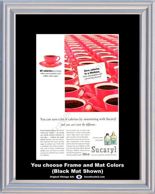 1957 Sucaryl Sweetener Coffee Vintage Ad Non Caloric Sweeten Pink Health and Wellness 57 *You Choose Frame-Mat Colors-Free USA S&H*