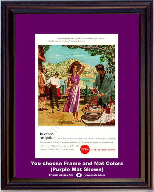 1957 Coca Cola Coke Acapulco Vintage Ad The Pause That Refreshes Ice Cold Mexico Robert Fawcett Painting 57 *You Choose Frame-Mat Colors-Free USA S&H*