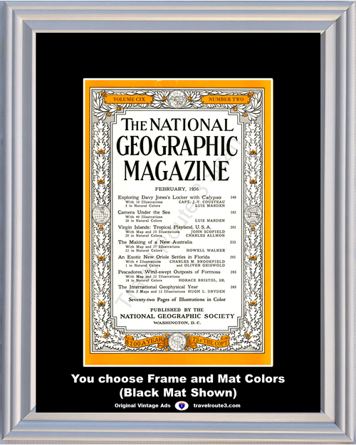 1956 February National Geographic Magazine Cover Volume CIX - Number Two 56 **You Choose Frame-Mat Colors-Free USA Priority Shipping**