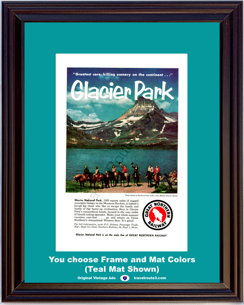 1956 Great Northern Railway Glacier National Park Vintage Ad Travel Vacation Swiftcurrent Lake Horseback Riding 56 **You Choose Frame-Mat Colors-Free USA Priority Shipping**