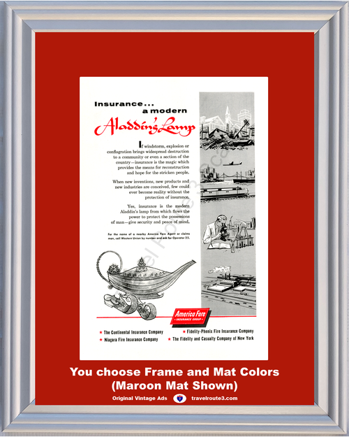 1956 America Fore Insurance Aladdin's Lamp Vintage Ad Property Windstorm Explosion Conflagration 56 **You Choose Frame-Mat Colors-Free USA Priority Shipping**