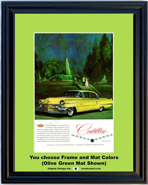 1956 Cadillac Fleetwood Sixty Special Vintage Ad Jewels by Harry Winston Necklace 56 **You Choose Frame-Mat Colors-Free USA Priority Shipping**