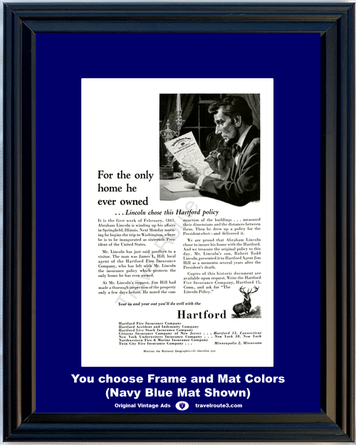 1956 Hartford Insurance Abraham Lincoln Vintage Ad Home House Fire Policy 56 **You Choose Frame-Mat Colors-Free USA Priority Shipping**