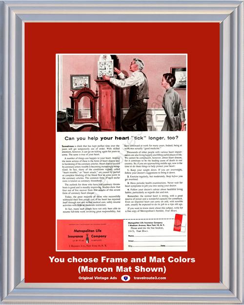 1956 Metropolitan Life Insurance Heart Health Vintage Ad Grandfather Clock Tick Wellness Disease Attack 56 *You Choose Frame-Mat Colors-Free USA S&H*