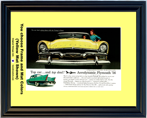 1956 Plymouth Belvedere Convertible Vintage Ad 56 Aerodynamic Young in Heart Grill Front *You Choose Frame-Mat Colors-Free USA S&H*