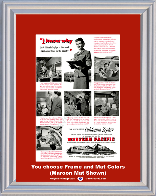 1956 Western Pacific Travel Vintage Ad Train Railroad Railway Vacation California Zephyr Vista Dome 56 *You Choose Frame-Mat Colors-Free USA S&H*