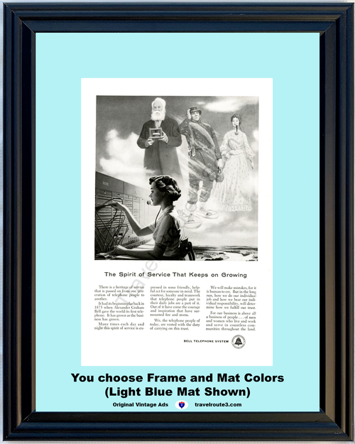 1956 Bell Telephone Switchboard Operator Vintage Ad Alexander Graham Bell Spirit of Service Phone 56 *You Choose Frame-Mat Colors-Free USA S&H*