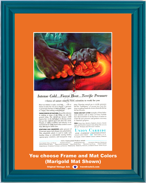 1956 Union Carbide Forces of Nature Vintage Ad Intense Cold Fierce Heat Terrific Pressure Hands 56 *You Choose Frame-Mat Colors-Free USA S&H*