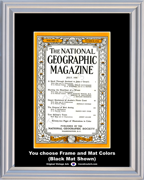 1956 July National Geographic Magazine Cover Volume CX - Number One 56 **You Choose Frame-Mat Colors-Free USA Priority Shipping**