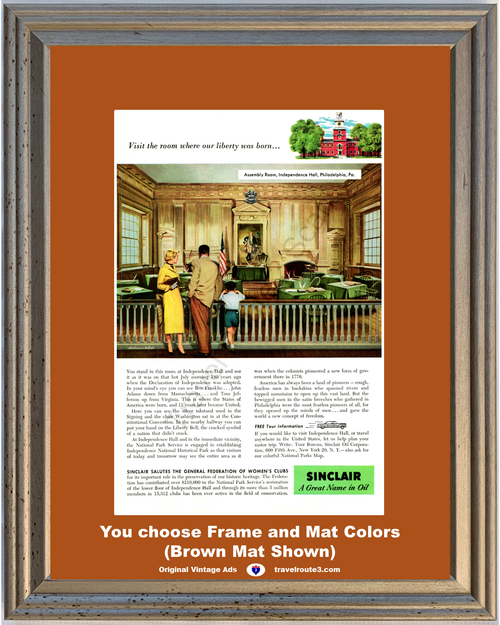 1956 Sinclair Oil Independence Hall Travel Vintage Ad Vacation Philadelphia PA Assembly Room 56 **You Choose Frame-Mat Colors-Free USA Priority Shipping**