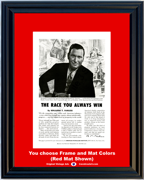 1956 American Petroleum Institute Vintage Ad Iron and Steel Institute Industry Manufacturing 56 **You Choose Frame-Mat Colors-Free USA Priority Shipping**