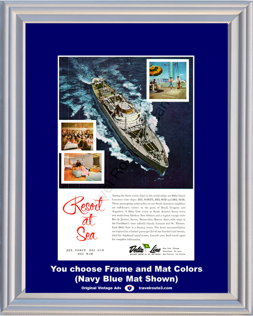 1956 Delta Line Cruise Travel Vintage Ad Vacation Resort at Sea South America Brazil Uruguay Argentina 56 **You Choose Frame-Mat Colors-Free USA Priority Shipping**