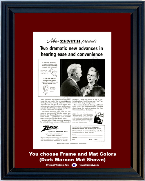 1956 Zenith Hearing Aid Vintage Ad Health and Wellness Sound Audio Diplomat Crest 56 **You Choose Frame-Mat Colors-Free USA Priority Shipping**