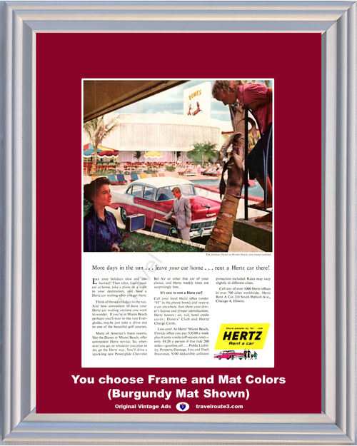 1956 Chevrolet Miami Beach Dunes Travel Vintage Ad Hertz Rent A Car 56 Chevy Florida FL Vacation **You Choose Frame-Mat Colors-Free USA Priority Shipping**