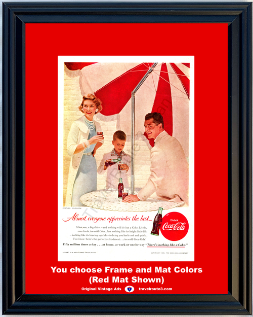 1956 Coca Cola Coke Vintage Ad There's Nothing Like a The Best Ice Cold Perfect Sparkle Refreshment 56 **You Choose Frame-Mat Colors-Free USA Priority Shipping**