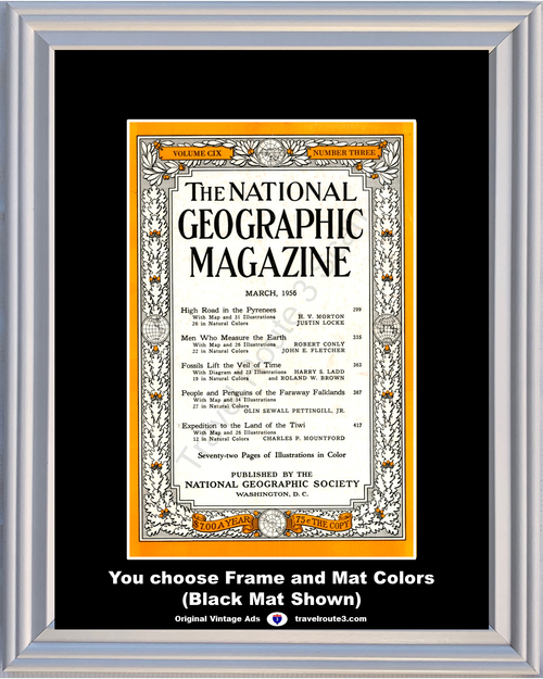 1956 March National Geographic Magazine Cover Volume CIX - Number Three 56 **You Choose Frame-Mat Colors-Free USA Priority Shipping**