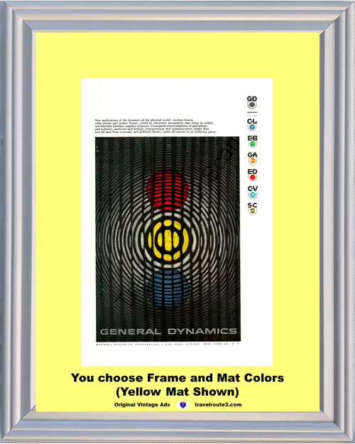 1956 General Dynamics Nuclear Fusion Vintage Ad Solar Energy Atomic Power Enduring Peace 56 **You Choose Frame-Mat Colors-Free USA Priority Shipping**