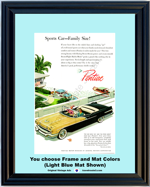 1956 Pontiac Star Chief Vintage Ad Convertible Glamorous Sports Car Water Boating 56 **You Choose Frame-Mat Colors-Free USA Priority Shipping**