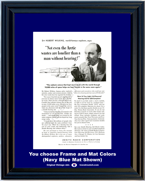 1956 Zenith Radio Hearing Aid Vintage Ad Explorer Sir Hubert Wilkins Loss Radionic Science 56 **You Choose Frame-Mat Colors-Free USA Priority Shipping**