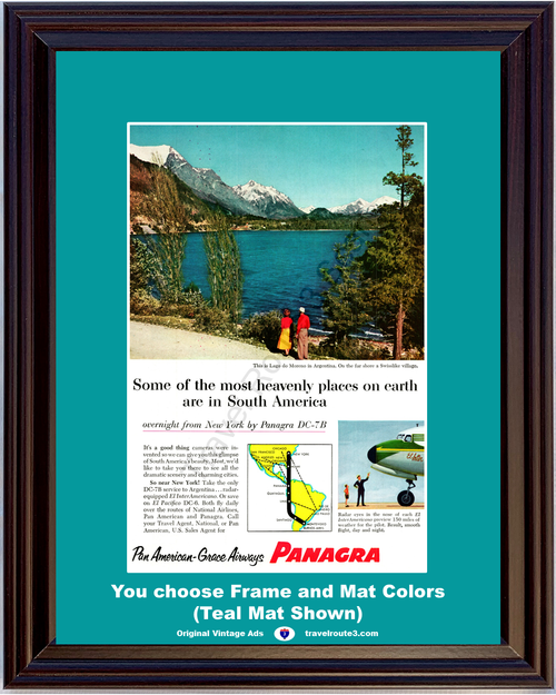 1956 Panagra Argentina Travel Vacation Vintage Ad Lago de Moreno Airways Airline Airplane Air Plane 56 *You Choose Frame-Mat Colors-Free USA S&H*