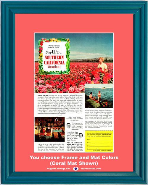 1956 Southern California Vacation Flowers Vintage Ad SoCal Travel Hollywood Beachcombing Starfish Field 56 **You Choose Frame-Mat Colors-Free USA Priority Shipping**