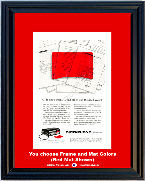 1956 Dictaphone Dictabelt Record Vintage Ad Office Dictating Machine Time Master Recording 56 **You Choose Frame-Mat Colors-Free USA Priority Shipping**