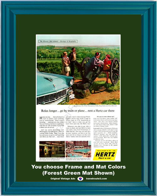 1956 Hertz Valley Forge Travel Vintage Ad Ford Fairlane Rent a Car Vacation Revolutionary War Maryland New Jersey 56 **You Choose Frame-Mat Colors-Free USA Priority Shipping**