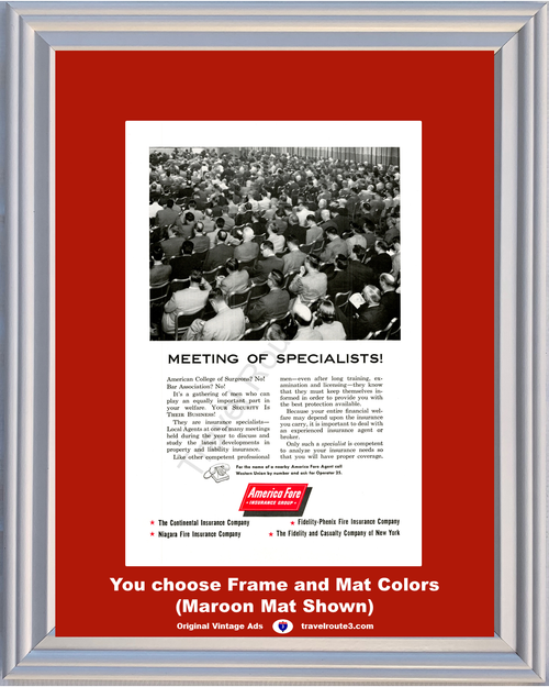 1956 America Fore Insurance Meeting Vintage Ad Specialists Local Agents Professional Men Training Licensing 56 **You Choose Frame-Mat Colors-Free USA Priority Shipping**