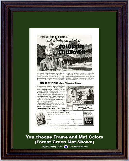 1956 Burlington Route Colorado Vacation Vintage Ad Zephyr Train Railway Railroad Travel Colorful Horseback Riding Fishing 56 **You Choose Frame-Mat Colors-Free USA Priority Shipping**