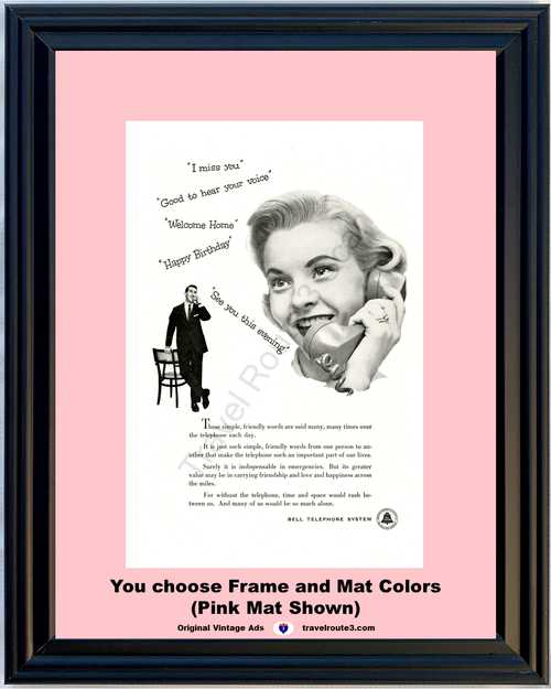 1956 Bell Telephone Friendship Love Happiness Vintage Ad Miss You Happy Birthday Welcome Home Phone 56 **You Choose Frame-Mat Colors-Free USA Priority Shipping**