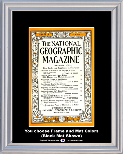1956 December National Geographic Magazine Cover Volume CX - Number Six 56 **You Choose Frame-Mat Colors-Free USA Priority Shipping**