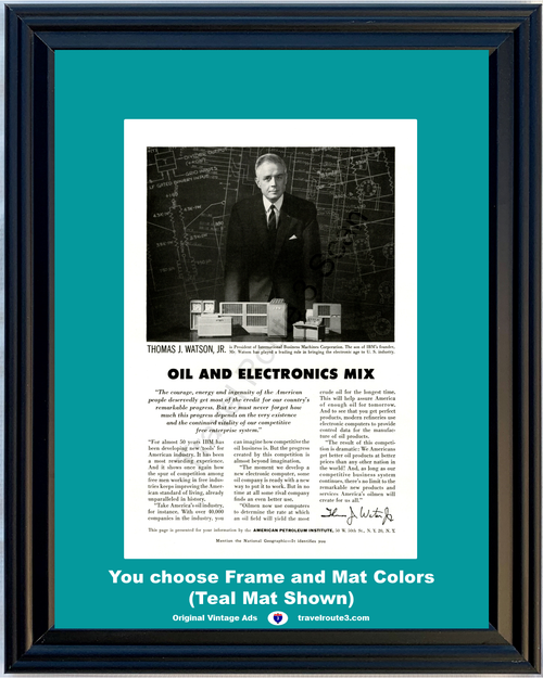 1956 IBM Oil Electronics Vintage Ad International Business Machines American Petroleum Institute 56 *You Choose Frame-Mat Colors-Free USA S&H*