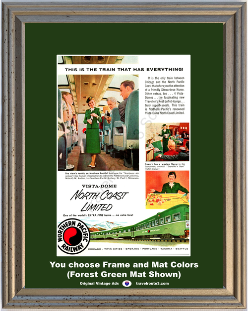 1956 Northern Pacific Railway Train Vintage Ad Vista Dome North Coast Limited Railroad Northern Pacific 56 *You Choose Frame-Mat Colors-Free USA S&H*