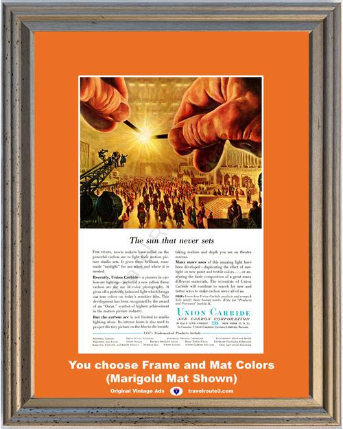 1956 Union Carbide Motion Picture Vintage Ad Movies Studio Color Photography Sun Never Sets 56 *You Choose Frame-Mat Colors-Free USA S&H*