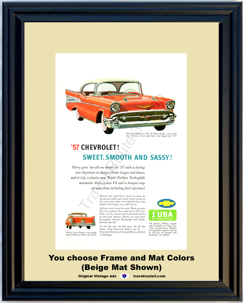 1957 Chevrolet Bel Air Vintage Ad 57 Chevy 4 Door Hardtop Sport Sedan Sweet Smooth Sassy Low Late 56 Ad *You Choose Frame-Mat Colors-Free USA S&H*