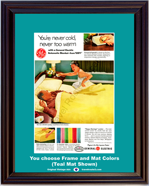 1956 General Electric Blanket Vintage Ad Automatic Bed Bedroom Happy Marriage Comfort Warmth 56 *You Choose Frame-Mat Colors-Free USA S&H*