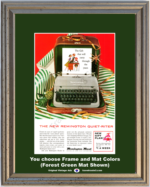 1956 Remington Rand Typewriter Christmas Vintage Ad Gift Quiet Riter Student Family 56 *You Choose Frame-Mat Colors-Free USA S&H*