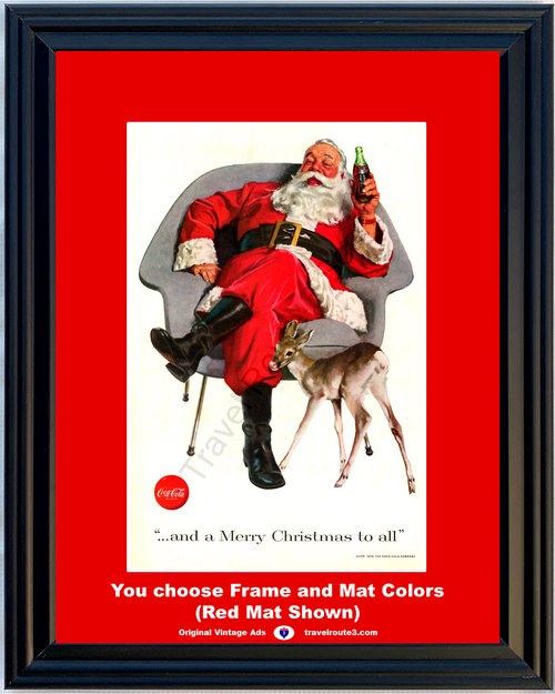 1956 Coca Cola Christmas Santa Vintage Ad Coke Claus And a Merry Christmas to All Bottle Deer 56 *You Choose Frame-Mat Colors-Free USA S&H*